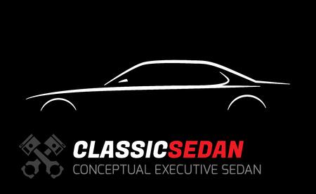 sedan: Classic executive sedan car silhouette vector concept