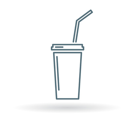 slush: Cooldrink icon. Cooldrink sign. Cooldrink symbol. Thin line icon on white background. Vector illustration.