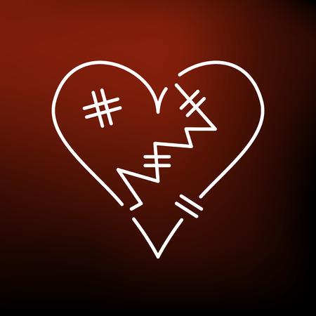 torn heart: Heart broken icon. Heart broken sign. Heart broken symbol. Thin line icon on red background. Vector illustration.