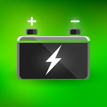 volt: Concept automotive 12 volt car battery design on green background. Vector illustration. Illustration