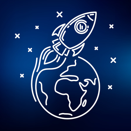 to orbit: Conceptual rocket orbit earth icon. Rocket orbit earth sign. Rocket orbit earth symbol. Thin line icon on blue background. Vector illustration of rocket orbiting earth in space with stars.