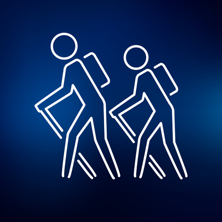 excersise: Hiking icon. Hiking sign. Hiking symbol. Thin line icon on blue background. Vector illustration. Illustration
