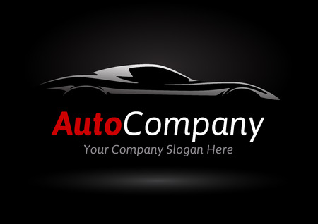 Modern Auto Company Design Concept with Sports Car Silhouette on black background. Vector illustration. Stock Illustratie