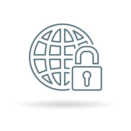 encryption: Secure internet icon. Secure internet sign. Secure internet symbol. Thin line icon on white background. Vector illustration. Illustration