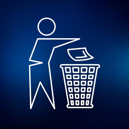 ゴミ箱のアイコンを破棄します。ゴミ箱の記号を破棄します。ゴミのシンボルを破棄します。青の背景に細い線のアイコン。ベクトルの図。  イラスト・ベクター素材