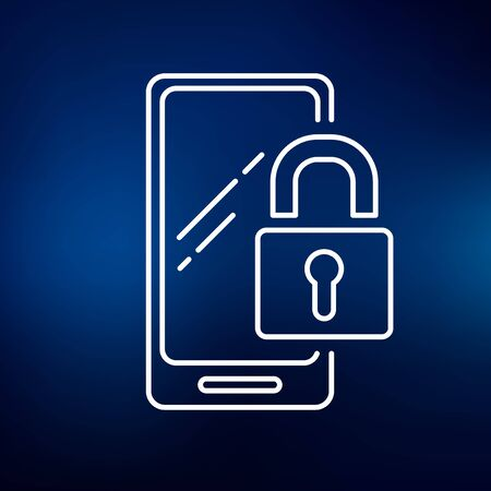 lock symbol: Secure lock mobile smartphone icon. Secure lock mobile smartphone sign. Secure lock mobile smartphone symbol. Thin line icon on blue background. Vector illustration.