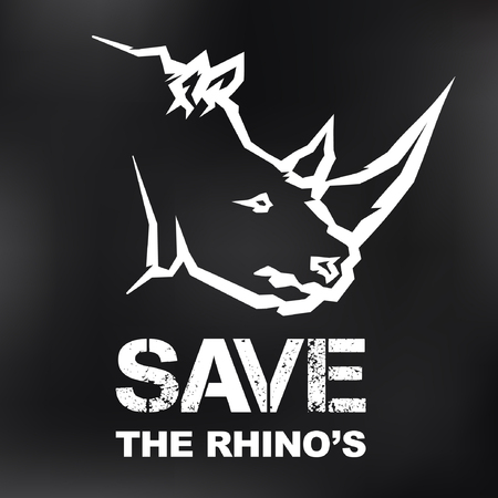 nashorn: Save the Rhino Konzept - Vektor-Icon-Design