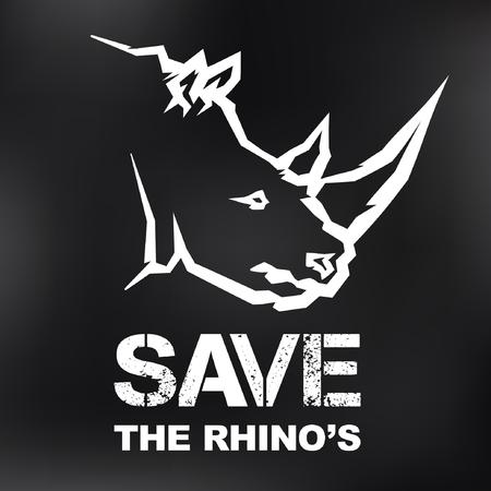 Save the Rhinos concept - vector icon design Illustration