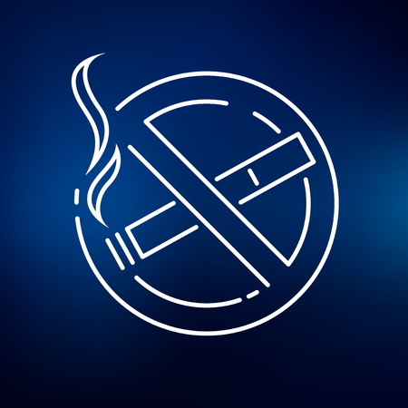 no symbol: No smoking zone icon. No smoking zone sign. No smoking zone symbol. Thin line icon on blue background. Vector illustration. Illustration