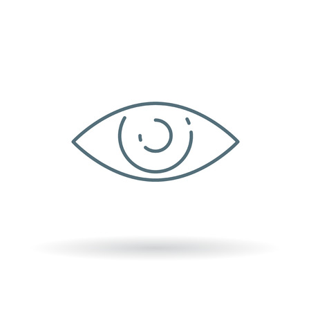 sight: Eye sight icon. Eye sight sign. Eye sight symbol. Thin line icon on white background. Vector illustration.