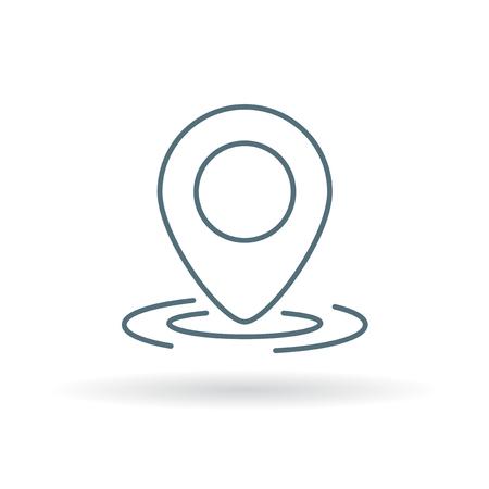 marker: GPS icono de ubicación de marcador. GPS marcador letrero de emplazamiento. GPS marcador símbolo ubicación. Icono de línea fina en el fondo blanco. Ilustración del vector.