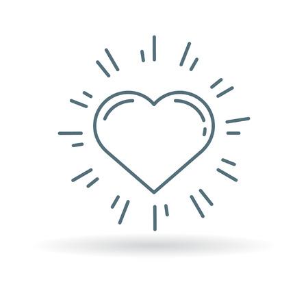Glowing heart icon. Glowing heart sign. Glowing heart symbol. Thin line icon on white background. Vector illustration. Ilustração