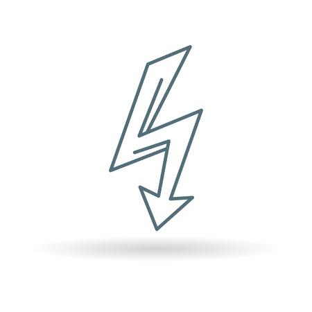 thunderbolt: Electric thunderbolt arrow icon. Electric thunderbolt arrow sign. Electric thunderbolt arrow symbol. Thin line icon on white background. Vector illustration.