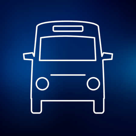 parking sign: Bus icon. Bus sign. Bus symbol. Thin line icon on blue background. Vector illustration.