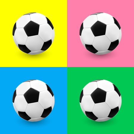 futbol: Soccer ball  football set on colourful backgrounds. Vector illustration. Illustration