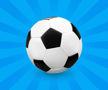 futbol: Soccer ball  football on blue background with light rays. Vector illustration.