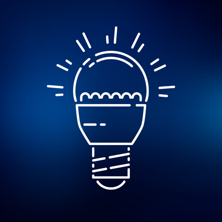 thin bulb: LED light bulb icon. LED light bulb sign. LED light bulb symbol. Thin line icon on blue background. Vector illustration.