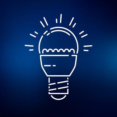 led light bulb: LED light bulb icon. LED light bulb sign. LED light bulb symbol. Thin line icon on blue background. Vector illustration.