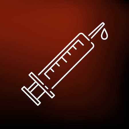 medical sign: Medical syringe icon. Medical syringe sign. Medical syringe symbol. Thin line icon on red background. Vector illustration.