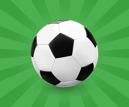 futbol: Soccer ball  football on green background with light rays. Vector illustration.