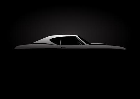 calor: Concepto de diseño con la silueta del coche del músculo clásico estilo americano en fondo negro. Ilustración del vector. Vectores