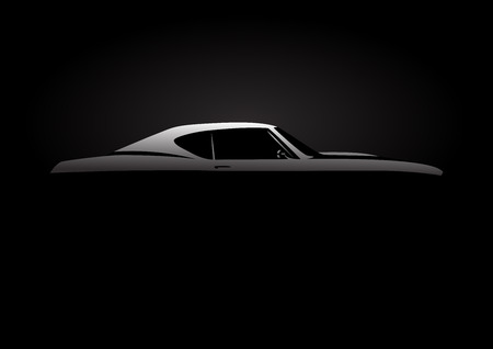 Design Concept with classic American style muscle car silhouette on black background. Vector illustration.