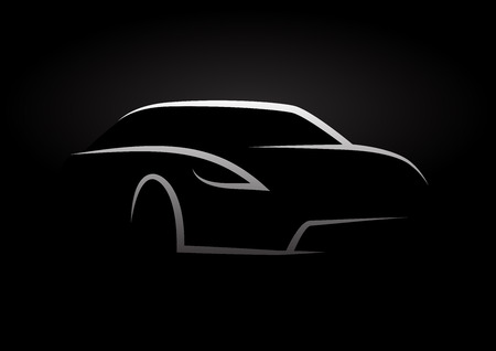 Auto Company Vector Design Concept with Sports Car Silhouette on black background