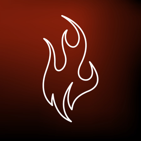 fire symbol: Fire icon. Fire sign. Fire symbol. Thin line icon on red background. Vector illustration. Illustration