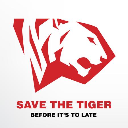 silueta tigre: Guarde el tigre antes de que sea tarde al concepto Vectores