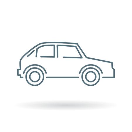 車のアイコン。車の記号です。車の記号です。白い背景の上の細い線のアイコン。ベクトルの図。