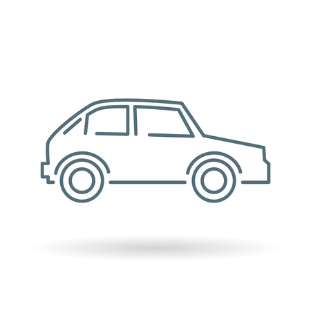 Car icon. Car sign. Car symbol. Thin line icon on white background. Vector illustration.
