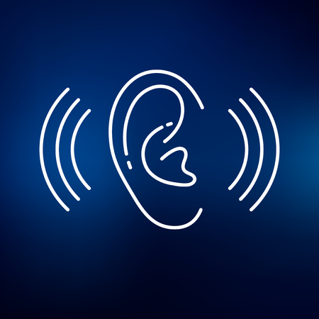 hearing: Ear hearing aid icon. Ear hearing aid sign. Ear hearing aid symbol. Thin line icon on blue background. Vector illustration.