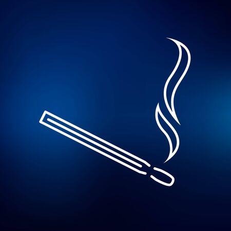 matchstick: Matchstick icon. Matchstick sign. Matchstick symbol. Thin line icon on blue background. Vector illustration.