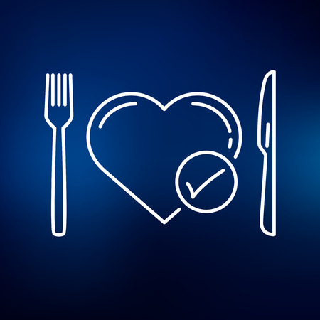 medical abstract: Conceptual eat healthy icon. Conceptual eat healthy sign. Conceptual eat healthy symbol. Thin line icon on blue background. Vector illustration.