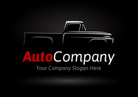 Auto company design concept with classic pickup motor vehicle silhouette on black background. Vector illustration.