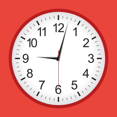 Flat style red analogue clock. Vector illustration.