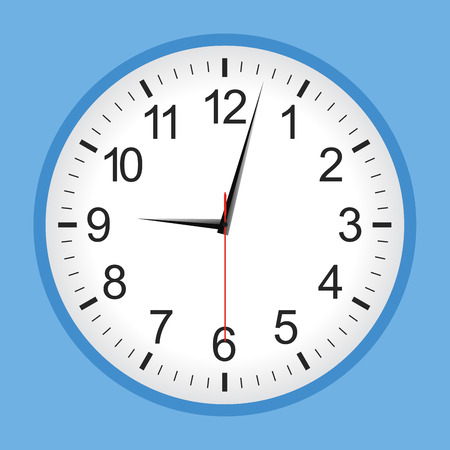 Flat style blue analogue clock. Vector illustration. Illustration