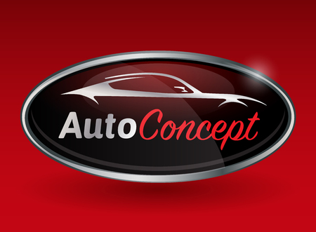 수송: 빨간색 배경에 스포츠 차량 실루엣의 크롬 배지 개념 자동차 차량 엠블럼 디자인. 벡터 일러스트 레이 션.
