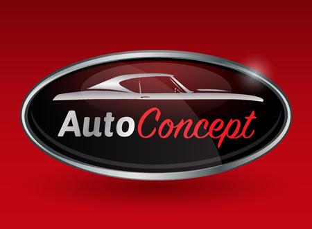 運輸: 汽車概念車徽的設計與紅色背景上的運動肌肉車的剪影鍍鉻徽章。矢量插圖。