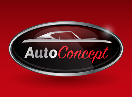 taşıma: kırmızı zemin üzerine spor kas araba silueti krom rozetli Konsept otomotiv araba amblem tasarımı. Vector illustration.