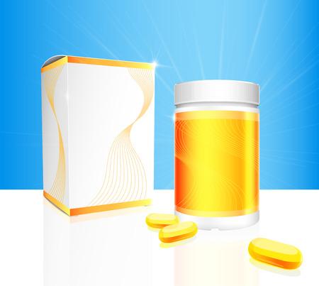 Zachte gel capsules met gouden en witte medische fles en doos verpakking op een blauwe achtergrond. Vector illustratie.