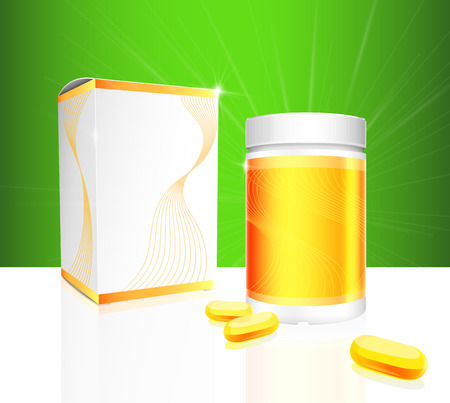 gel capsule: Soft gel capsules with gold and white medical bottle and box packaging on green background. Vector illustration.