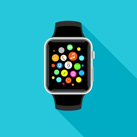 Modern smart watch with app icons, flat light blue design. Trendy smartwatch vector illustration.