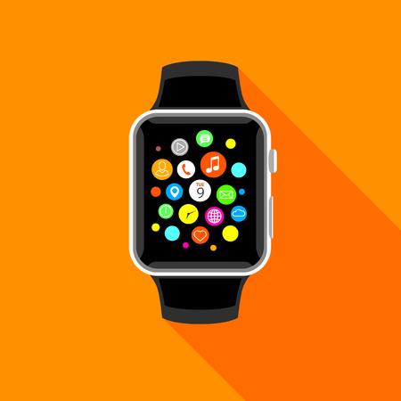 Modern smart watch with app icons, flat orange design. Trendy smartwatch vector illustration. Illustration