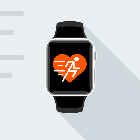 sports app: Flat design of modern smart watch with concept fitness app of heart and running man icon. Sports smartwatch vector illustration.