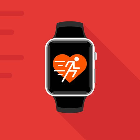 mobile app: Flat design of modern smart watch with concept fitness app of heart and running man icon. Sports smartwatch vector illustration.