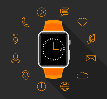 smart: Modern orange smartwatch with app icons on flat grey background. Smart watch technology vector illustration.