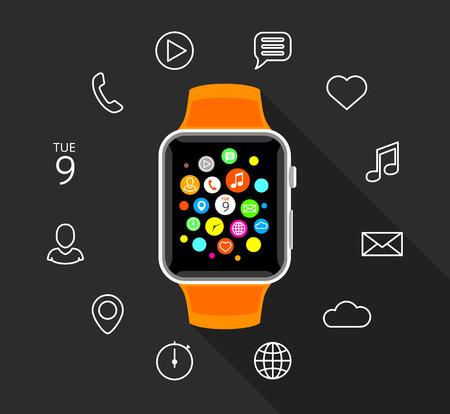 Modern orange smartwatch with white app icons on flat grey background. Smart watch technology vector illustration. Illustration