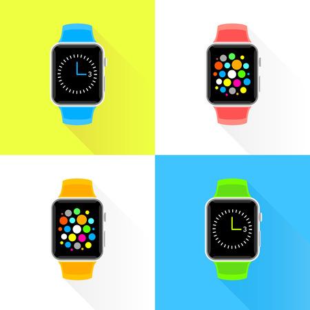 Modern colourful smart watch flat design set. Trendy smartwatch vector illustration.