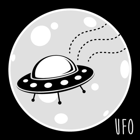 unidentified flying object: UFO unidentified flying object. Flying saucer spacecraft with moon backdrop. Vector illustration